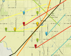 Historical tornado tracks (colored by intensity) from tornadohistoryproject.org. This does not include the 2013 EF-5.