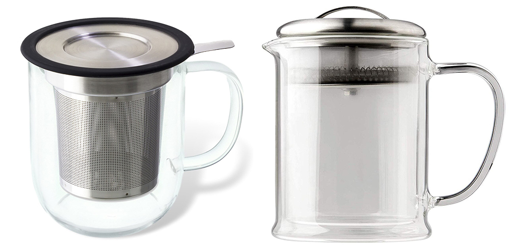 Glass teaware - infuser mug and double walled glass teapot