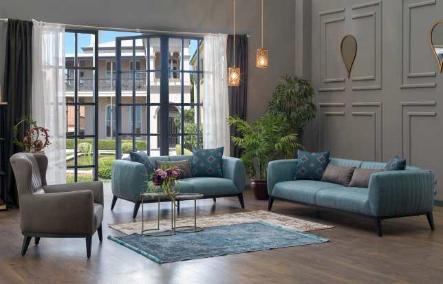 Lofty Aqua Beige Sofa, Love & Chair Set