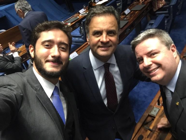 Com Aécio Neves e Antonio Anastasia no plenário do Senado Federal onde os comuniquei que seria andidato pelo PHS e sugeri o nome de Alexandre Kalil para prefeito