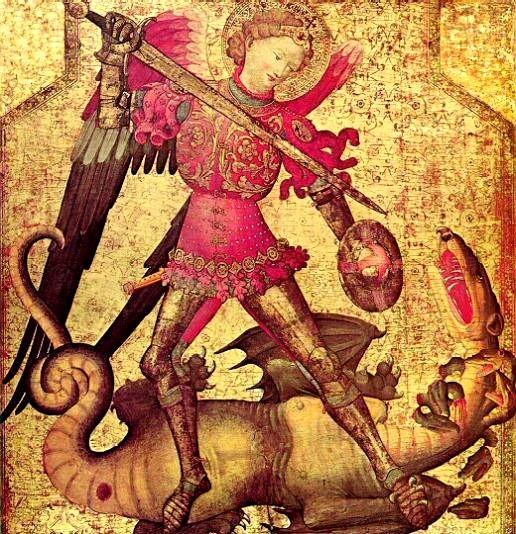 Der Erzengel Michael tötet die Urmutter in Gestalt des Drachen