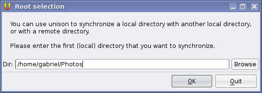elige un directorio local