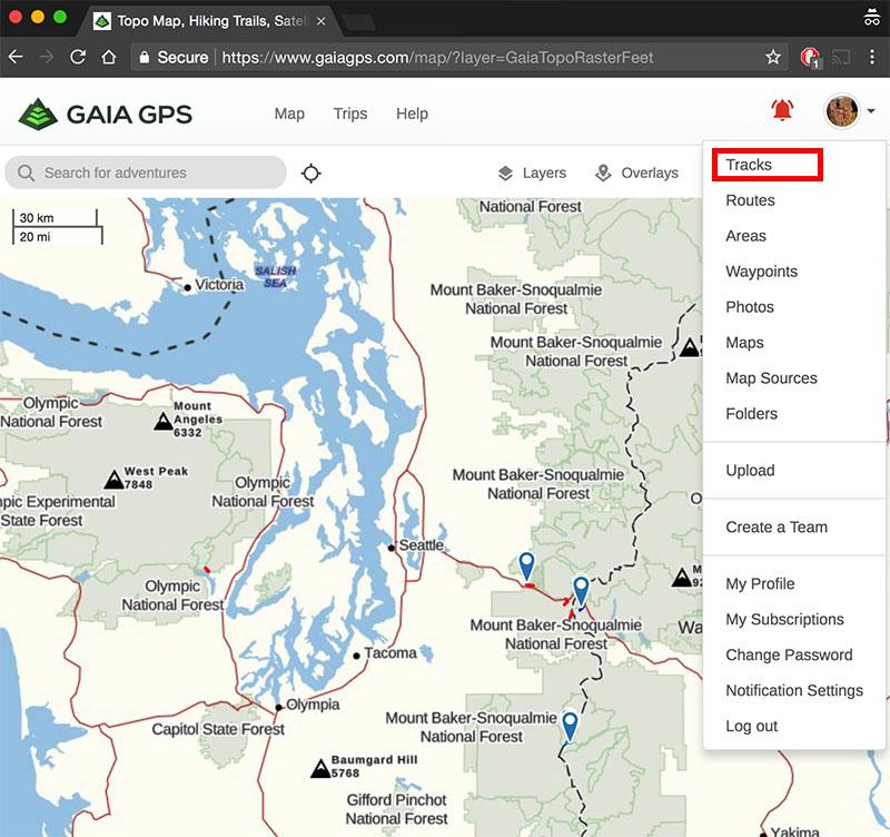 Gaia GPS account options