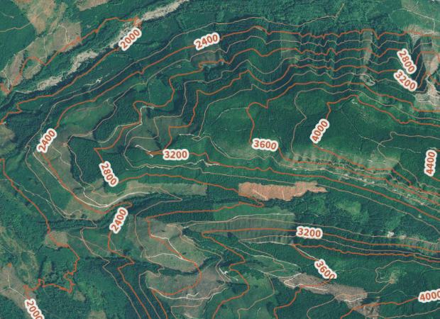 Contours-Meters overlaid on the Mapbox Aerial layer.