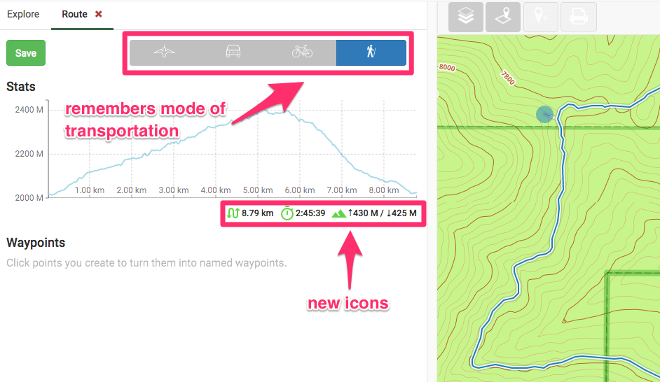 The route maker displays new icons for distance and elevation.