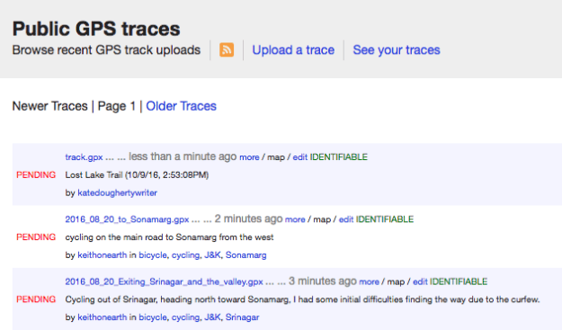 Pending Traces on OpenStreetMap