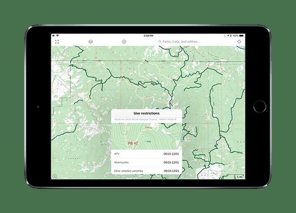GAIA GPS USFS MVUM (motor vehicle use maps) overlay