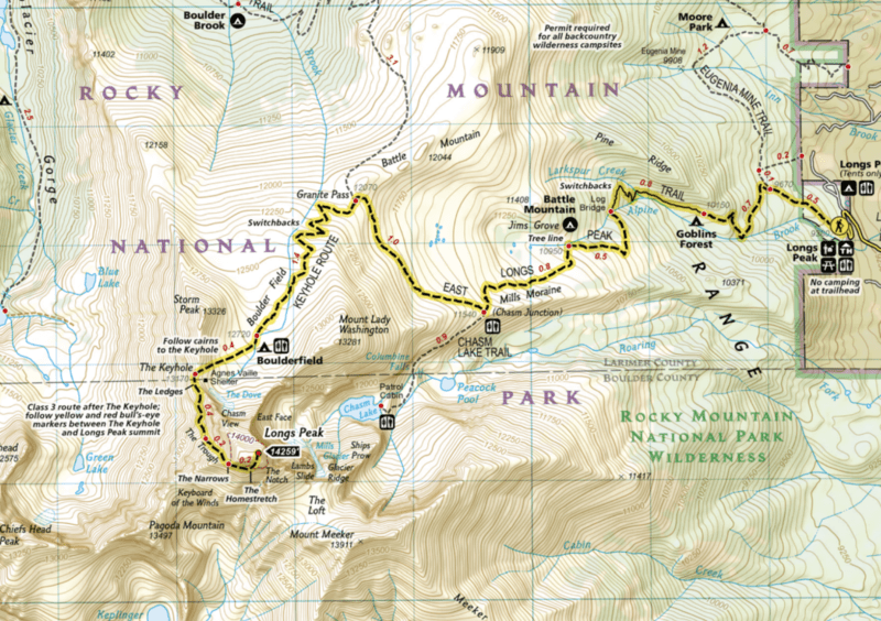 map of longs peak