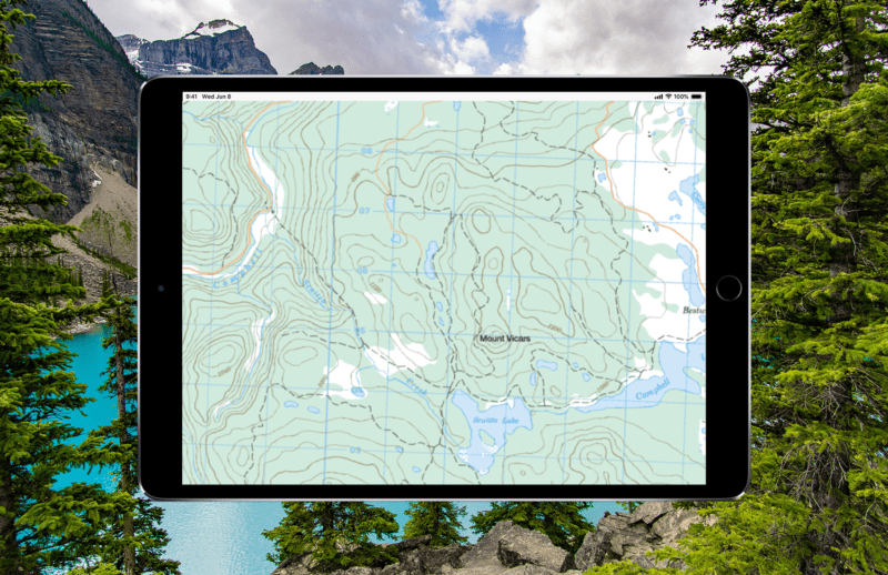 Topographic map of Canada, viewed on an ipad