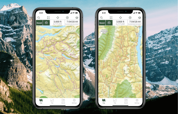 Iphone screens displaying ATV and Snowmobile trail overlays side by side