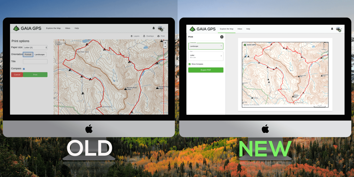 Two screens showing a comparison of the new versus old print preview screen. New print preview shows entire map selection and mock-up of paper map.