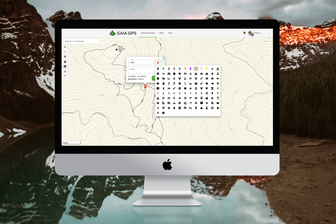 Screen featuring the Gaia GPS main map with new waypoint icons available.