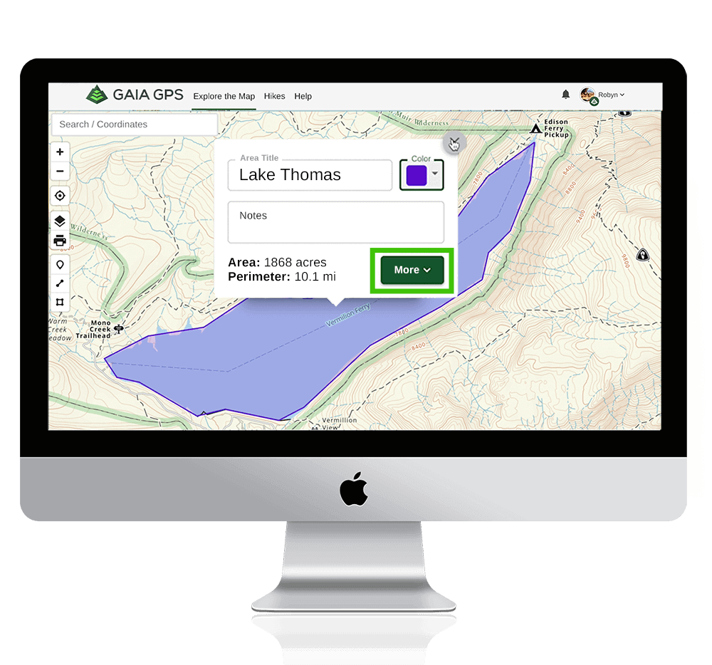 """Web map land measurement highlighted in purple with """"Lake Thomas"""" label over the area"""
