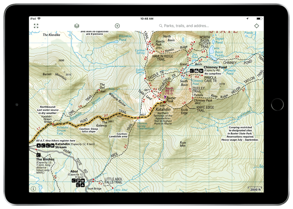 A National Geographic map of Mount Katahdin.