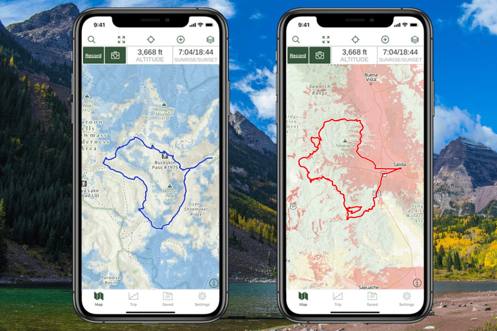 Two iPhones displaying Gaia Topo with cell phone coverage layers for two different routes.
