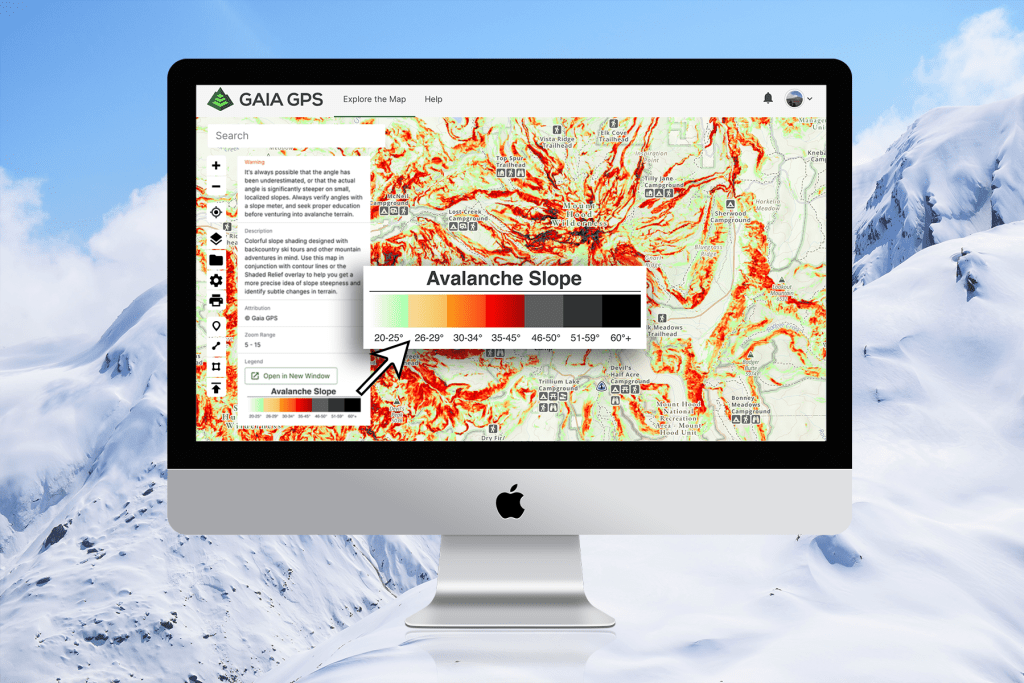 A desktop screenshot shows the color variations for slope angles on the Avalanche Slope Angle map.