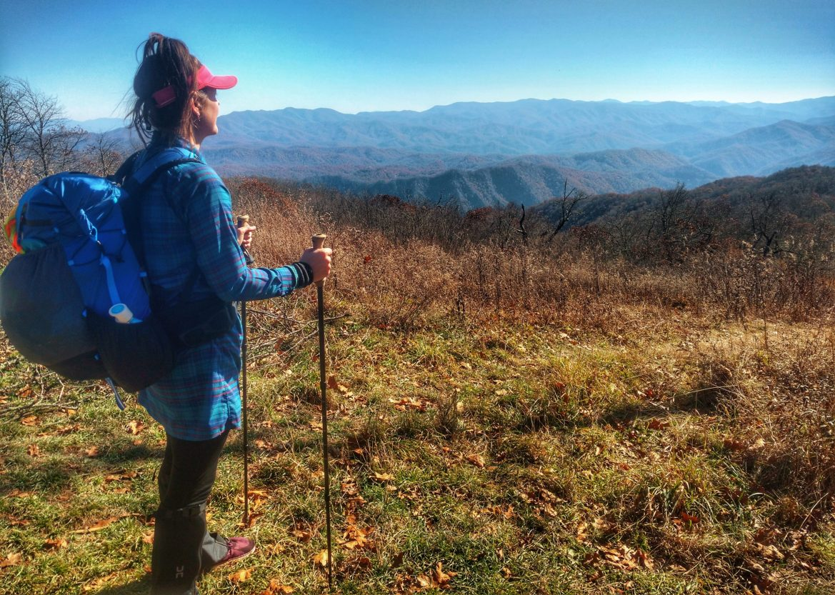 Anish stands with her poles and backpack, gazing out from a field to a rainbow sea of mountains.