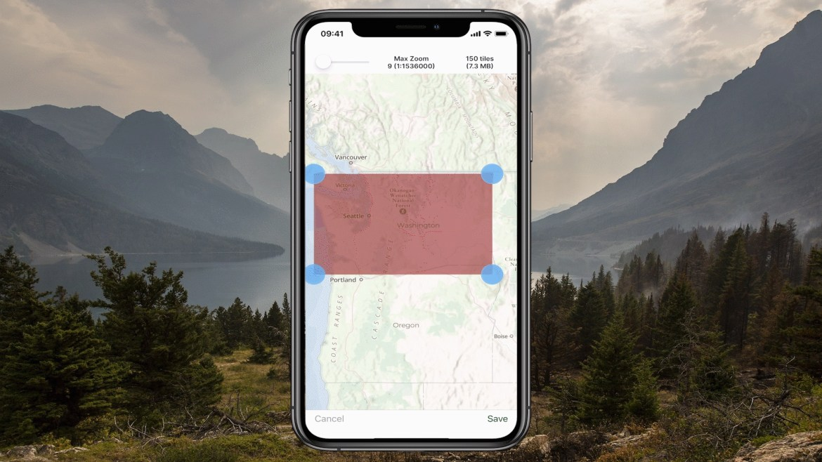 An iPhone screenshot of the Gaia Topo shows a swath of land ready to be downloaded.