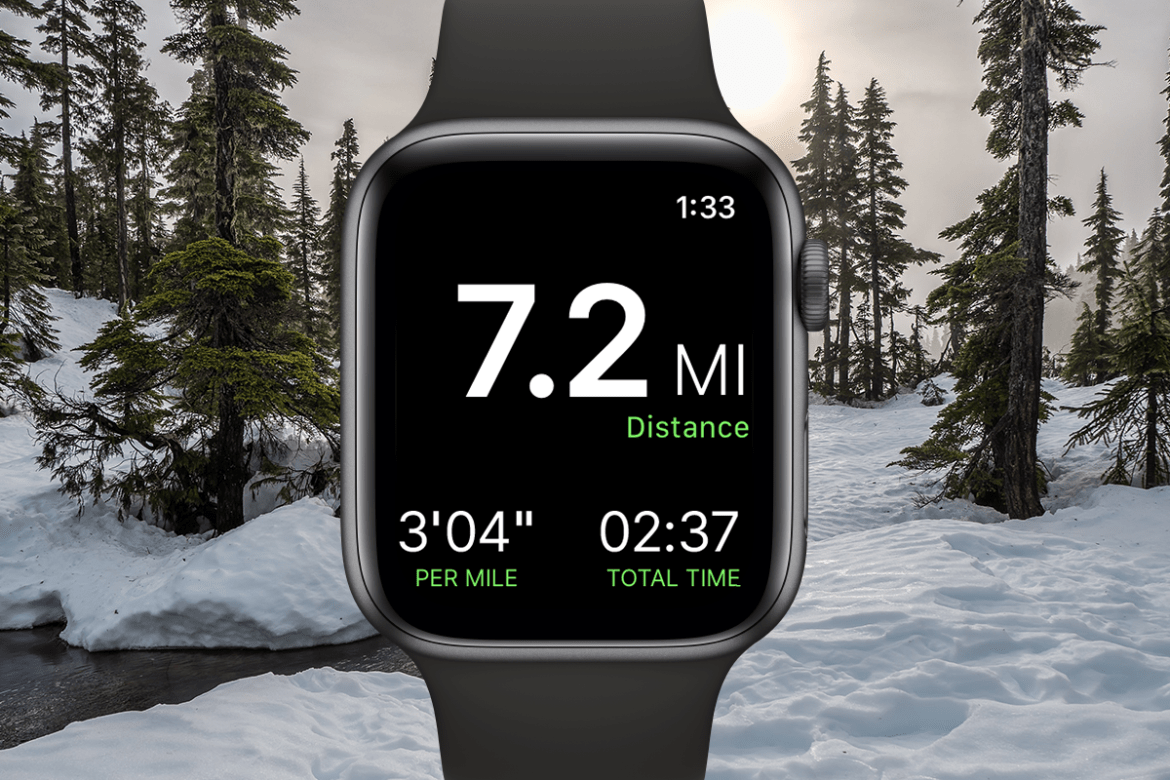 A screenshot of the Gaia GPS Apple Watch app shows the time of day in the top right corner of the screen; distance covered in the middle, pace in the bottom left corner, and total time in the bottom right corner.