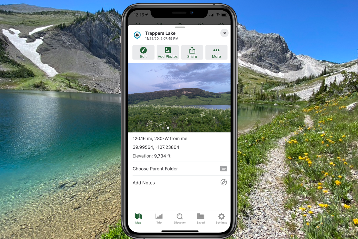 A phone screenshot shows a photo of Trappers Lake that is being added to Gaia GPS.