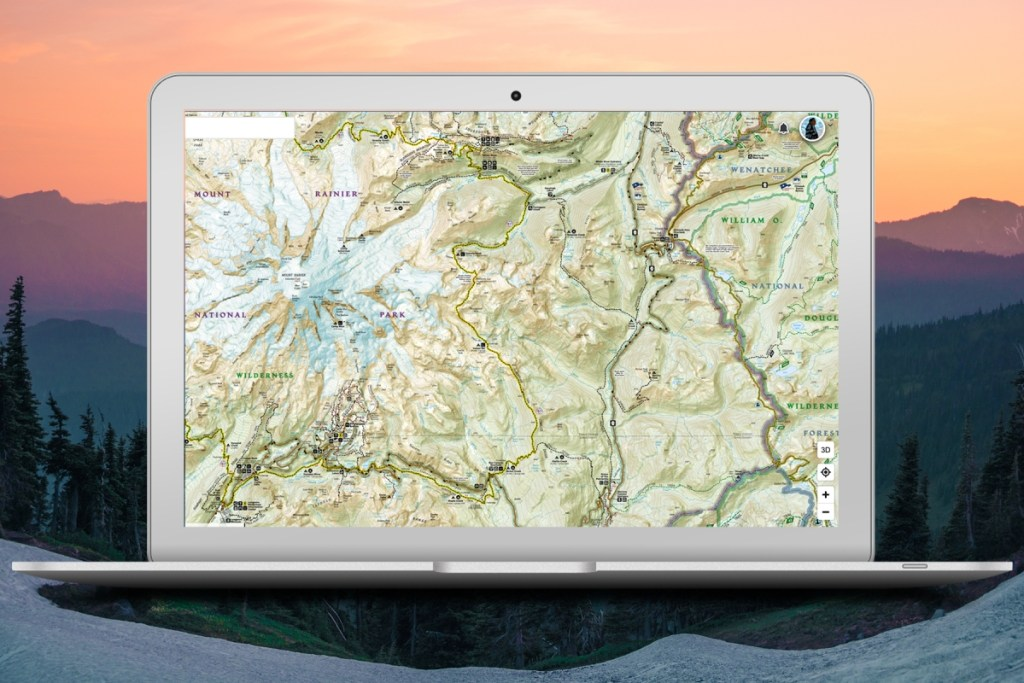 Screenshot of the Wonderland Trail Nat Geo Trails Illustrated map on a laptop.