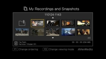 AverMedia Game Capture HD C281 - Interface de lecture des vidéos enregistrées