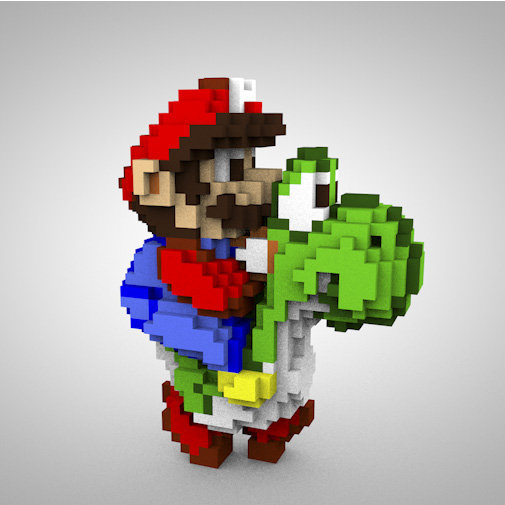 impression 3d personnage jeu video 2d - Super Mario