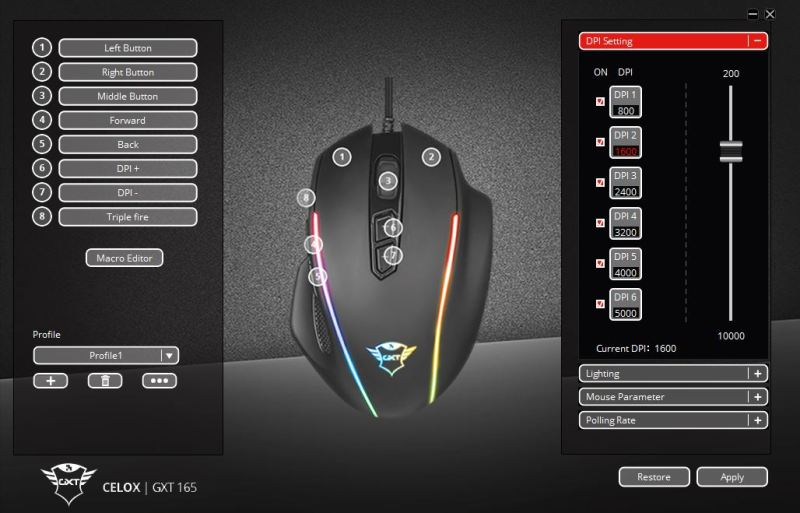 Logiciel souris gaming Trust Gaming Celox GXT 165