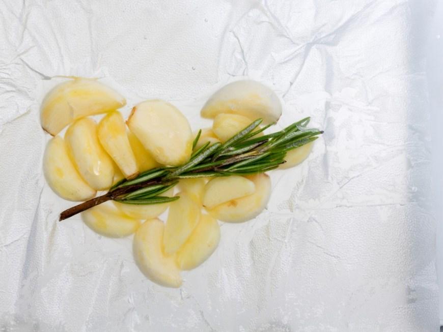 Rosemary on top of garlic