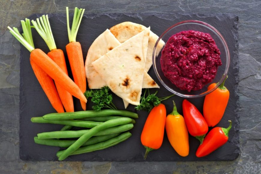 beet hummus recipe with pita and veggies