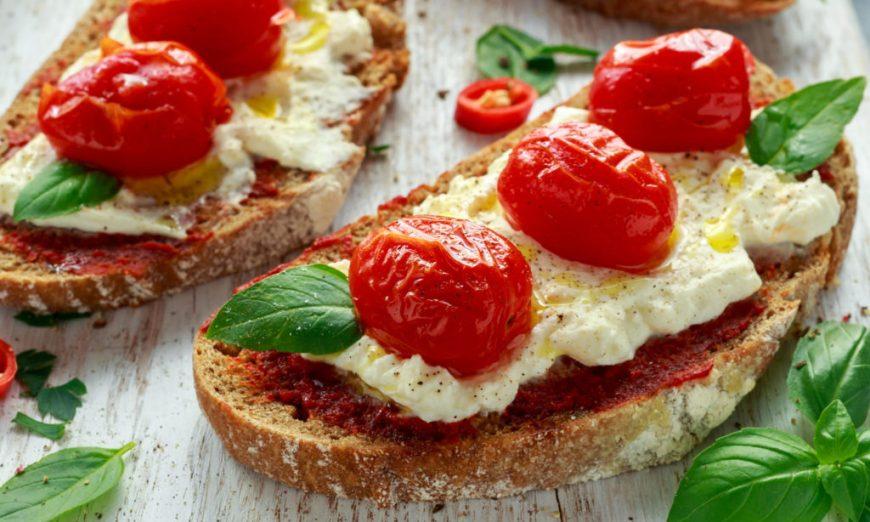 Ricotta Tomato Toast with Basil