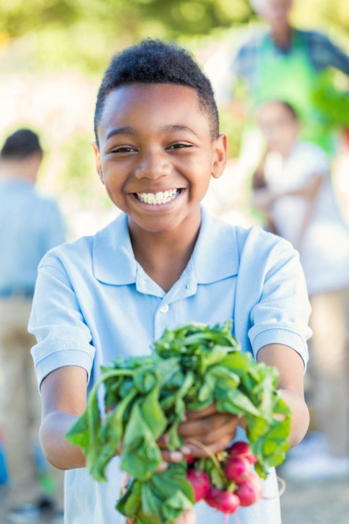 Child Harvesting Fresh Veggies