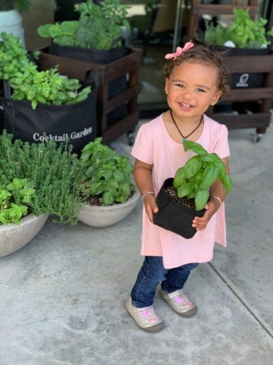 Kid holding garden
