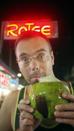 čerstvý kokosí, večerný trh