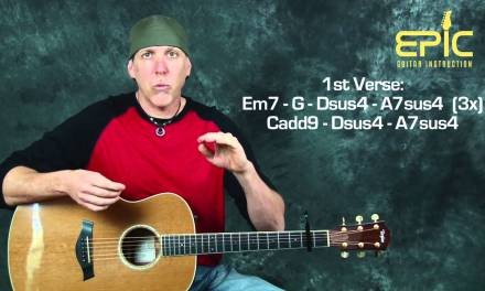 How to play Oasis Wonderwall acoustic guitar lesson with chords detailed strum patterns and rhythms