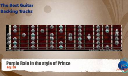 Purple Rain in the style of Prince Guitar Backing Track with scale map