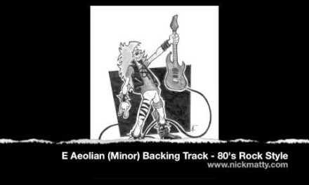 E Minor (Aeolian) Guitar Backing Track – 80's Rock Style