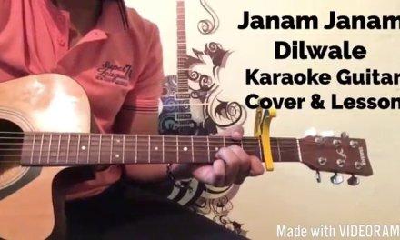Janam Janam – Dilwale – Guitar Lesson – Karaoke Background – Chords Strumming On Screen