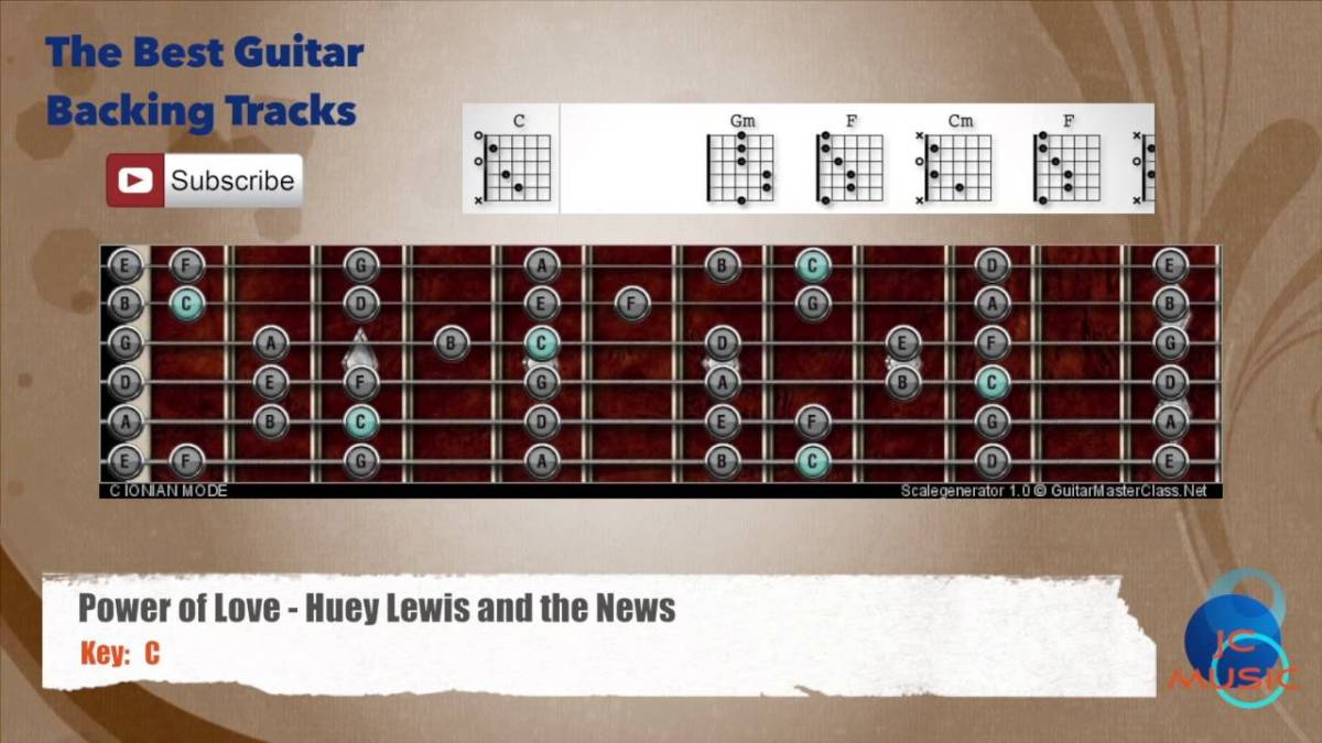 Power Of Love Huey Lewis Guitar Backing Track With Scale And
