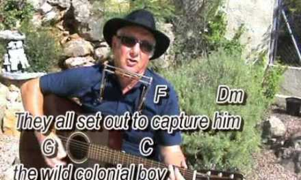 The Wild Colonial Boy – easy chords guitar  lesson – on-screen chords & lyrics (guitar/mouth organ)