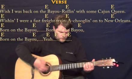 Born on the Bayou (CCR) Strum Guitar Cover Lesson with Lyrics/Chords