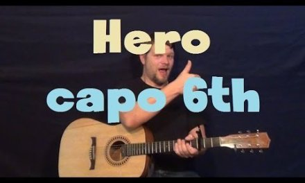 Hero (Skillet) Super Easy Guitar Lesson Capo 6th Fret How to Play Tutorial
