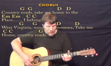 Country Roads – Strum Guitar Cover Lesson with Lyrics/Chords
