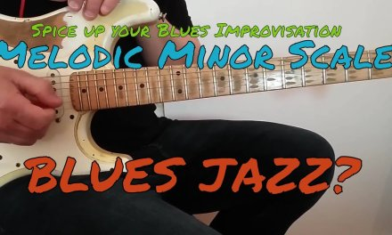 Blues Guitar Lesson: Minor Melodic Scale in BLUES – Blues Jazz? PDF + Backtrack (Spanish subtitles)
