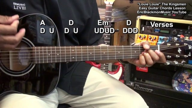 How To Play LOUIE LOUIE The Kingsmen On Guitar 3 Easy Chords ...