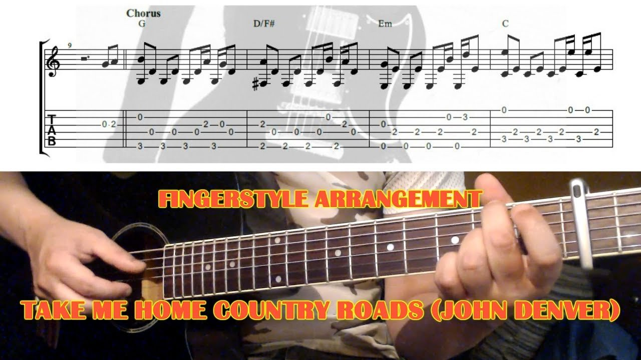 Take Me Home Country Roads John Denver Fingerstyle Guitar Lesson