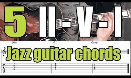 Jazz guitar chord voicings – II-V-I progression – 5 Exercises