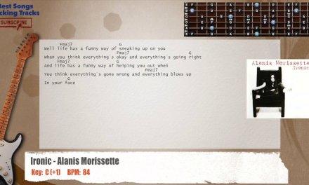 Ironic – Alanis Morissette Guitar Backing Track with chords and lyrics