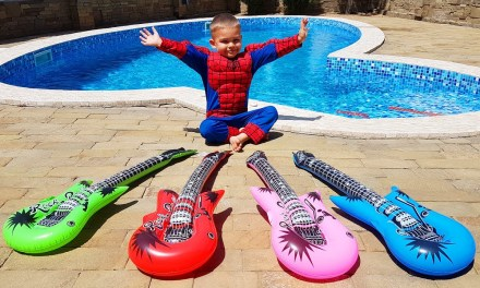 Bad Baby with Tantrum and Crying Spiderman Learn Colors with Colored Guitars in pool without bananas