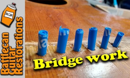 Leveling the bridge repair Carl Fischer pt7   RATTLECAN GUITAR RESTORATIONS by James O'Rear